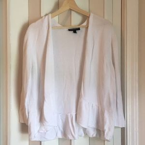 White peplum open cardigan sz 14/16